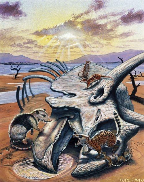 Млекопитающие на костях динозавров