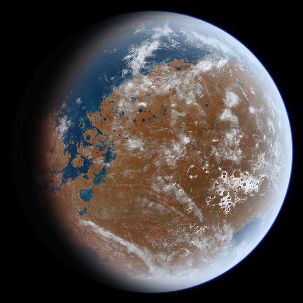 Как мог выглядеть Марс с развитой гидросферой