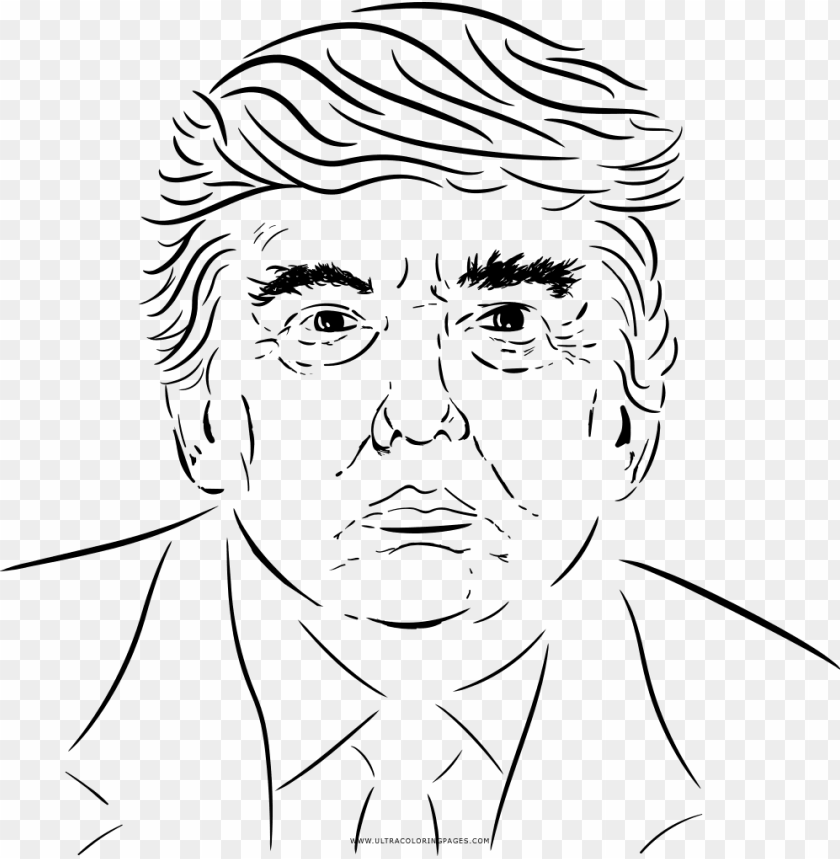 Donald Trump Coloring Page Line Art Png Image With Transparent Background Toppng