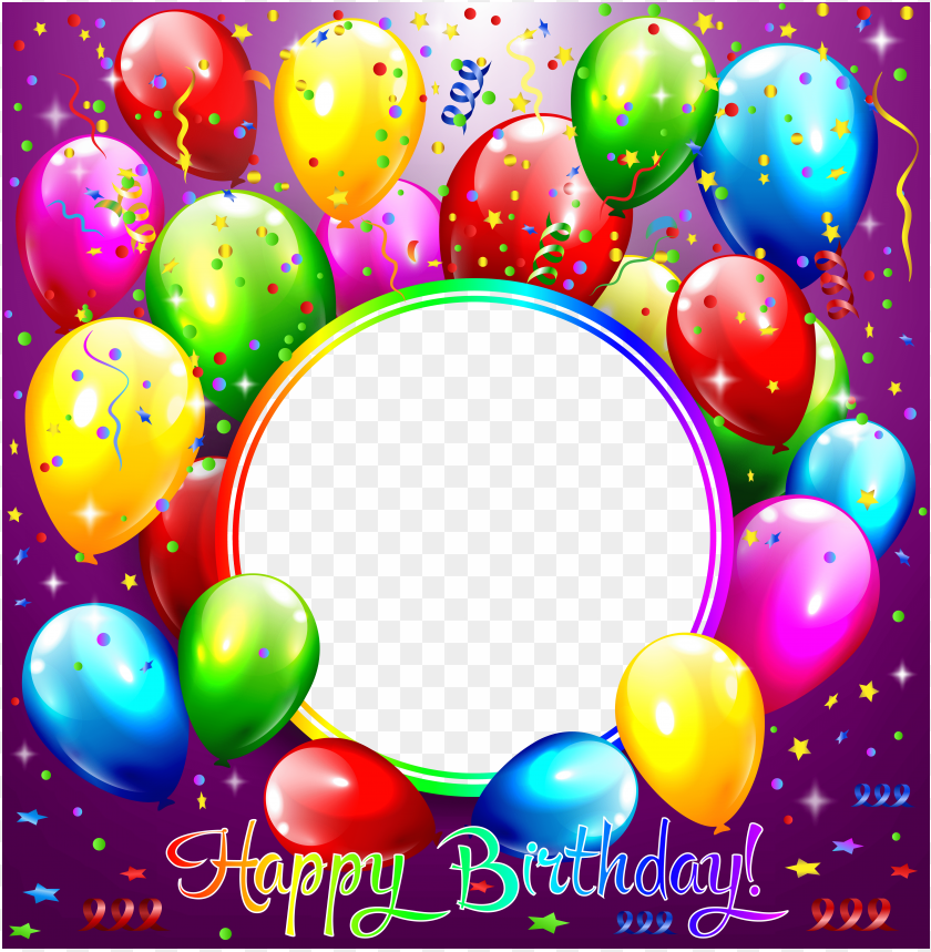 Happy Birthday Transparent Purple Frame Background Best Stock Photos Toppng