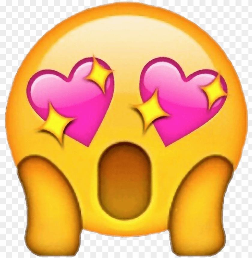 Wow Emojiiphone Pink Heart Eyes Emoji Png Image With