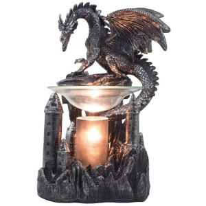 Mythical Winged Dragon Guarding Castle Electric Oil Warmer or Wax Tart Burner for Decorative Medieval