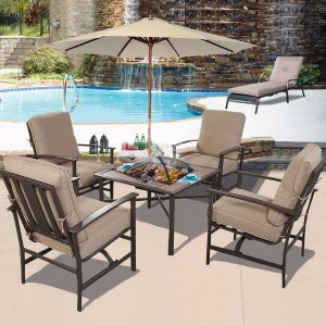 GHP Outdoor Patio 5-Piece Chair & BBQ Stove Fire Pit Table Furniture Set w Umbrella