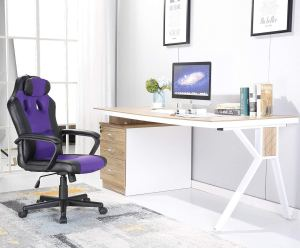 SEATZONE Smile Face Series Leather Gaming Chair, Racing Style Large Bucket Seat Computer Desk Chair