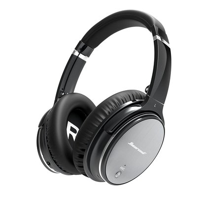 hiearcool l1 active noise canceling bluetooth headphones with mic and volume control for all 3.5mm jack and bluetooth devices - iron grey