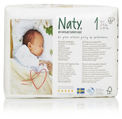 naty by nature babycare eco-friendly disposable baby diapers size 1, 4 packs of 26, 104 diapers