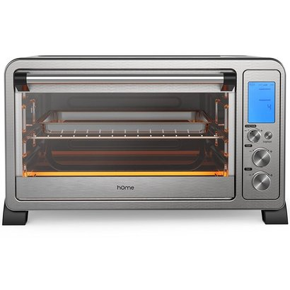 home 6 slice digital convection toaster oven stainless steel with 10 cooking functions, digital display and 3 rack positions