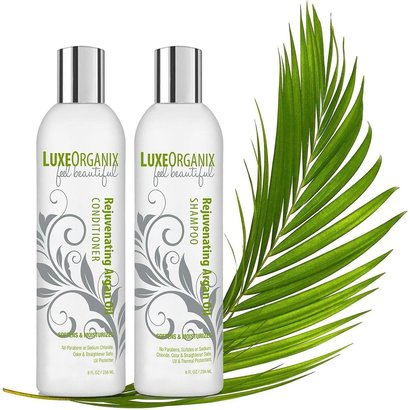 luxeorganix moroccan rejuvenating argan oil sulfate-free shampoo and conditioner relieves itchy, irritated scalp and dandruff
