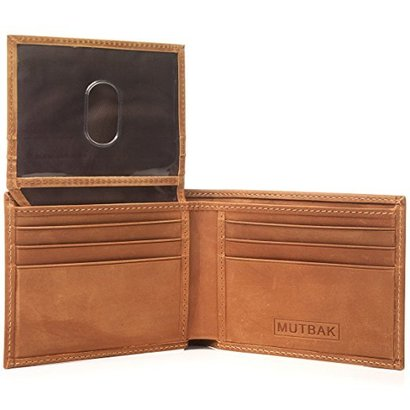 mutbak citadel passcase bifold leather wallet with rfid/nfc blocking comes in a soft bag and a gift box