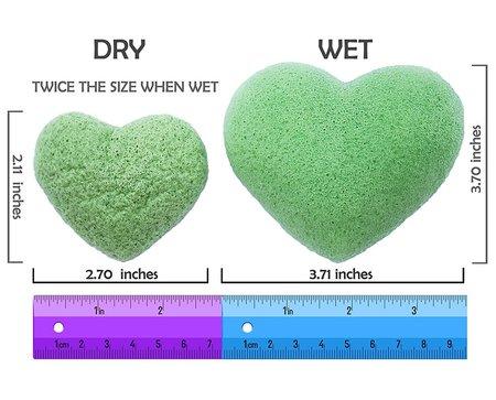 the beauty shelf konjac 3 pieces sponges in the heart-shaped box