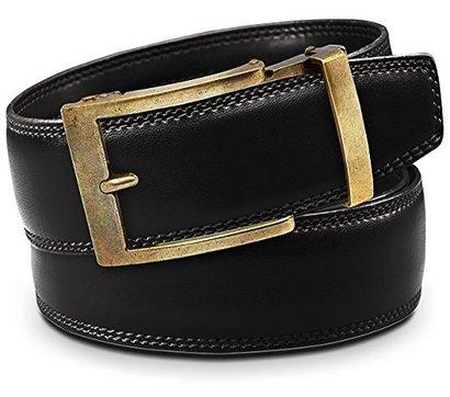 classic men's holeless leather ratchet click belt with automatic sliding buckle - trim to fit by viniciobelt