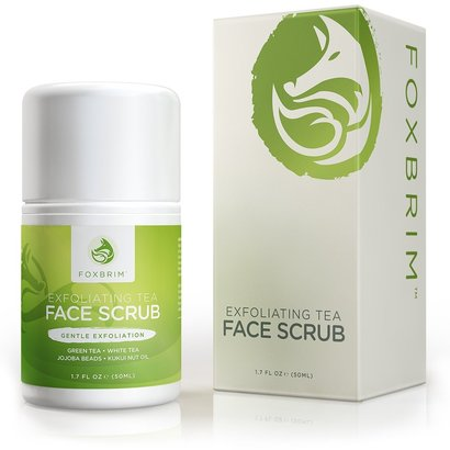 foxbrim exfoliating tea face scrub with green and white tea, avocado and olive butters and organic aloe vera