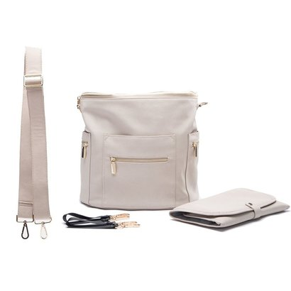miss fong leather diaper bag backpack with changing pads, wipes pouch, stroller straps and insulated pockets