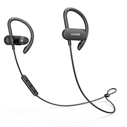 anker soundbuds curve bluetooth 4.1 sports earphones with 12.5 hour battery, aptx stereo sound, water resistant wireless headphones