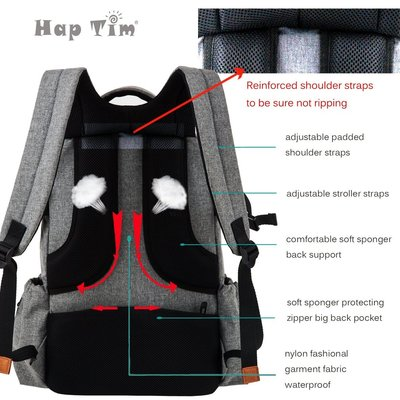 haptim multi-function large baby diaper bag backpack with reinforced shoulder straps and waterproof nylon fabric
