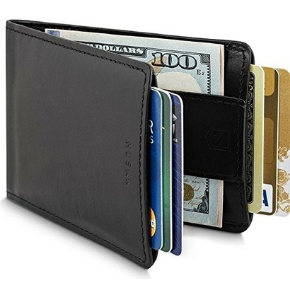 huskk slim rfid wallet for men with strap money clip in black