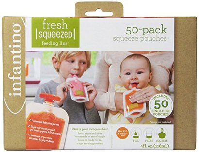 infantino fresh squeezed feeding pouches includes 50 pouches