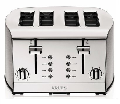 krups breakfast set kh734d50 4-slice toaster with six browning settings, defrost and reheat functions