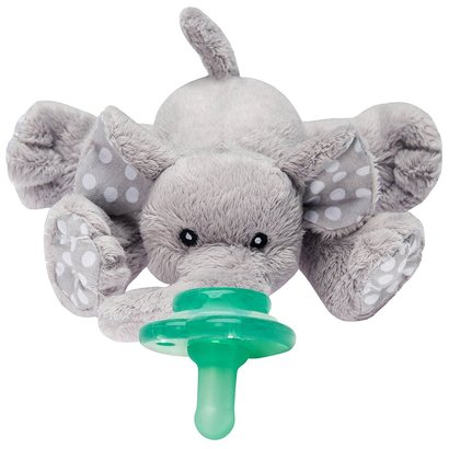 nookums paci-plushies elephant buddies - pacifier holder includes detachable pacifier use with multiple brand name pacifiers