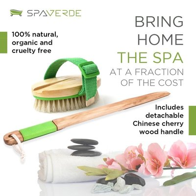 spaverde dry brushing set - natural boar bristle dry body and face brushes for complete exfoliation