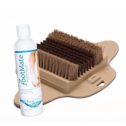 the footmate system foot brush scrubber and rejuvenating gel cleans and softens feet
