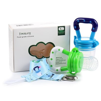 tinabless baby food grade silicone feeder with clip m includes 2 pieces teether pacifier