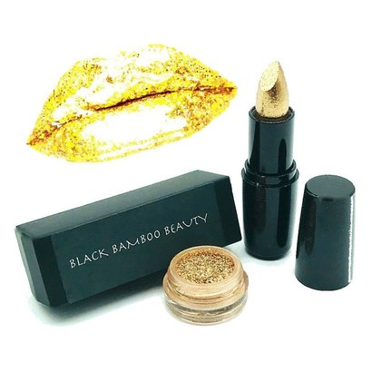 black bamboo beauty gold shimmer 2 piece makeup kit includes 24 k satin metallic gold lipstick and golden glitter powder with application brush