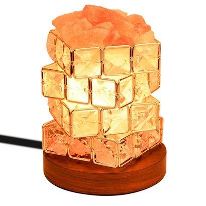 coowoo himalayan salt lamp with wood base, beautiful home decoration, gift idea for holidays