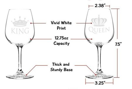 duvino king and queen wine glass with vivid white print gift set - glass capacity 12.75 oz