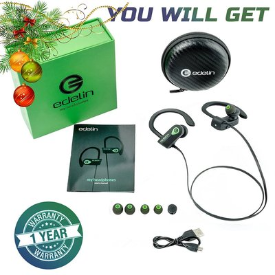 edelin bluetooth v4.1+edr headphones - wireless earbuds with microphone, noise cancelling and waterproof ipx7