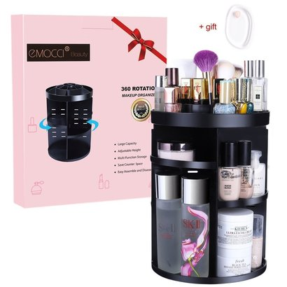 emocci beauty 360 degree large rotating makeup organizer with 7 adjustable layers for different types of cosmetics includes gift silicone makeup sponge