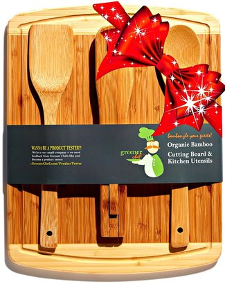 greener chef organic bamboo cutting board and kitchen utensil gift set includes wide spoon, flat spatula and versatile tongs