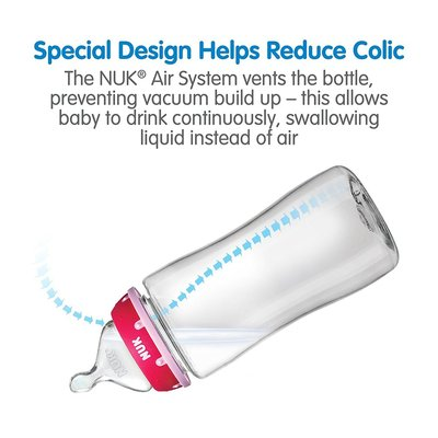 nuk hearts baby bottle with perfect fit nipple 3 pcs, 2 nipple sizes and 3 flow rates