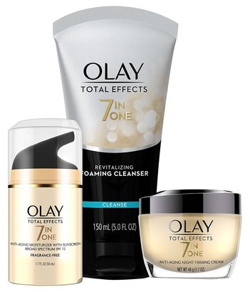 olay total effects anti-aging skincare kit includes night firming cream, anti-aging moisturizer with spf 15 and foaming cleanser