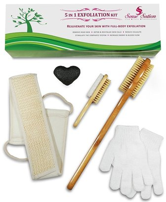 sense sation premium 5 in 1 dry brushing and skin exfoliation set of sisals bristles, perfect gift for holidays