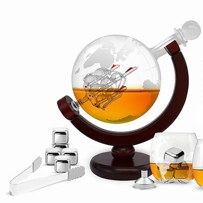 unique men's gift 850ml globe decanter complete set with stainless steel ice cubes, two globe glasses, pair of tongs and pour funnel