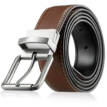 upella genuine leather dress belt for men with reversible and adjustable features
