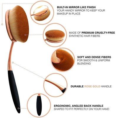 yoseng 10 toothbrush makeup brushes set premium oval multi-function brushes for blush, powder, concealer