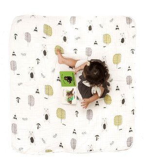 """clover & sage 100% organic cotton muslin blanket 47x47"""" inches large size blanket for baby and toddler"""