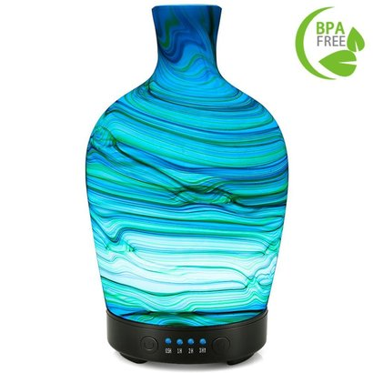 coosa 100ml glass aromatherapy essential oil diffuser with 4 time setting, 7 led mood lights and auto shut-off function, 4 hours working time