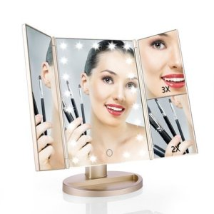 easehold tri-fold lighted vanity mirror magnification makeup mirror with touch screen and 21 led warm white lights