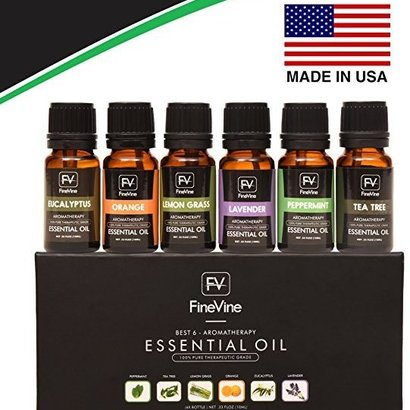 finevine 100% pure and therapeutic grade best 6 aromatherapy essential oils gift set includes lavender, tea tree, eucalyptus, lemongrass, orange and peppermint each 10 ml