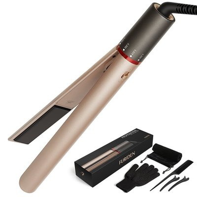 furiden professional hair straightener 2 in 1 straight and curling with heats up in 15 second and safety lock design