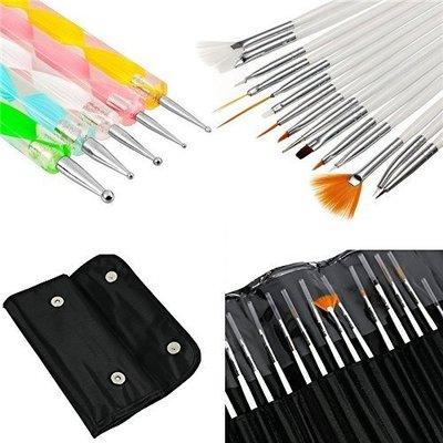 glam hobby 20pcs nail art tools set includes organizer bag, nail polish holder and striping tape line nail sticker with case