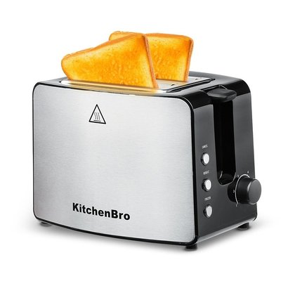 kitchenbro compact stainless steel 2-slice extra-wide slots toaster with automatic shutoff, cancel button, toast boost and easy-clean crumb tray