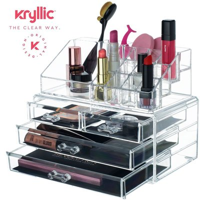 kryllic clear acrylic cosmetic organizer with four drawers and 16 compartments