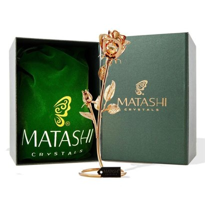 """matashi double rose crystal studded """"loving flower ornament"""" dipped in 24k gold in luxury gift box"""