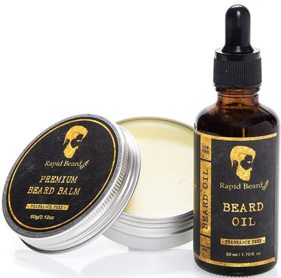 rapid beard premium beard balm and beard oil kit for men made of natural pure and organic ingredients perfect gift in luxury box