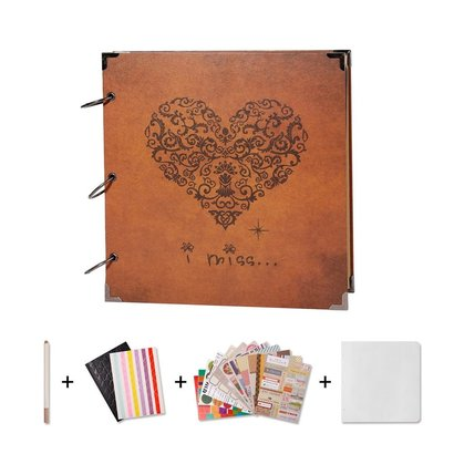 sicohome scrapbook with blank black pages, sheet protectors, one pen, supplies and stickers comes in gift box