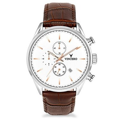 vincero men's chrono s watch with italian marble case-back and italian leather strap